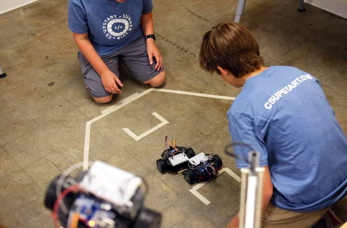 CS Upstart attendees compete with their robots
