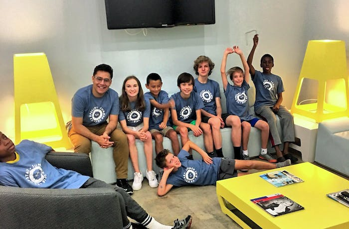Middle schoolers at CS Upstart coding camp